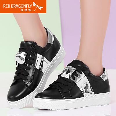 红蜻蜓女鞋 夏季新款平底真皮小白鞋 韩版厚底系带休闲鞋女板鞋