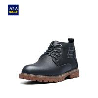 HLA/海澜之家保暖休闲鞋2018冬季新品磨砂皮高帮系带舒适男鞋