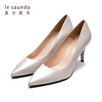 莱尔斯丹 春新款尖头浅口优雅漆皮革高跟鞋细跟单鞋AM87112