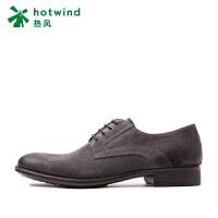 热风hotwind商务休闲鞋男 系带简约牛反绒男士休闲鞋H32M7102