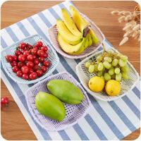 懿聚堂 创意镂空水果篮客厅塑料零食盘厨房简约蔬菜方形沥水篮