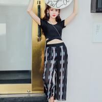 分体泳衣女保守小胸聚拢裙式韩国时尚黑色遮肚显瘦平角游泳衣