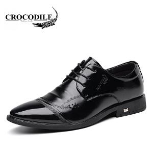 鳄鱼恤皮鞋系带商务正装鞋百搭尖头鞋婚鞋舒适男鞋