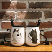 创意马克杯时尚陶瓷牛奶杯情侣马克杯带盖勺陶瓷杯子大容量水杯可爱办公室瓷水杯一对