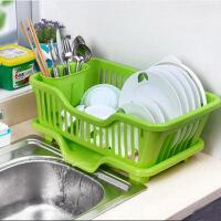 厨房置物架 塑料加厚滴水碗碟收纳架 滤水沥水碗碟架 沥碗架放盘用品收纳盒置物架滴水碗架(正面漏水)绿色