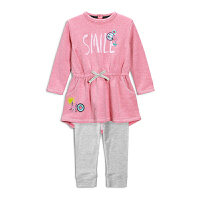 女童秋季套装小童纯棉长袖连衣裙春秋装1女宝宝打底裤二件套3-4岁 粉红色
