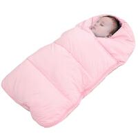 婴儿睡袋羽绒棉加绒加厚儿童宝宝新生儿外出抱被防踢被秋冬季款 粉色 浅 90尺码(适合新生儿--1岁半)