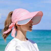 遮阳帽子女夏季韩版紫外线大沿遮脸防晒帽出游百搭空顶太阳帽骑车