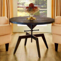 实木升降茶几美式乡村铁艺茶几可升降桌椅餐桌小圆桌咖啡桌洽谈工业金属台 组装