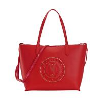 VERSACE JEANS范思哲 新品女士红色铆钉装饰聚酯纤维单肩购物袋E1VRBBQB 70050 500