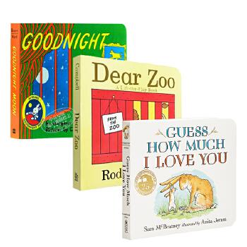【中商原版】现货猜猜我有多爱你 晚安月亮 爱的动物园 3册纸板书立体翻翻书 吴敏兰廖彩杏书单英文原版 Guess How Much I Love You 幼儿英文绘本0-3岁 子启蒙认知读物