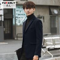 2018082306253882018 新款冬季男士大衣韩版修身短款呢子外套反季加厚妮子风衣男装青年性感潮流