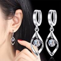 纯银耳扣 简约银饰品S925银耳环超闪水晶锆石小耳圈耳坠防过敏