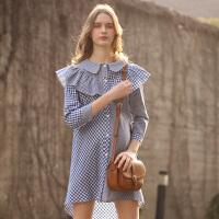 孕妇春装衬衫裙格子衬衣宽松大码上衣韩版娃娃衫中长款连衣裙 衬衫格子裙