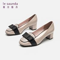 莱尔斯丹 2019新款方头蝴蝶结乐福粗跟乐福鞋中跟女单鞋AT42403