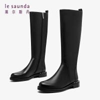 莱尔斯丹 时尚通勤加绒保暖舒适圆头拼接长靴女靴LS AT29001V