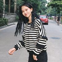 秋冬女装韩版学院风荷叶边袖子宽松套头长袖条纹卫衣短款学生上衣