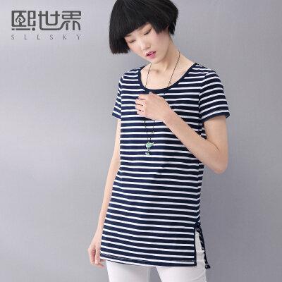 熙世界夏季新款棉质圆领条纹T恤中长款上衣女192ST196