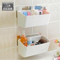 双庆吸盘置物架卫生间厨房置物架收纳架壁挂浴室塑料置物架浴室洗漱台置物架SQ6363