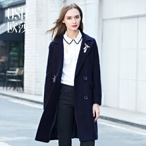OSA欧莎 冬装新款 趣味绣花西装领中长款毛呢外套