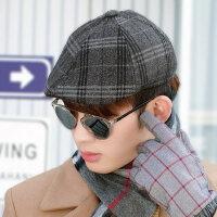 男士帽子鸭舌帽保暖英伦男帽子贝雷帽前进帽中老年人护耳帽