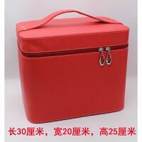 新品PU手提化妆箱超大容量化妆包纯色产品整理收纳箱示范工具箱包 大号 大红