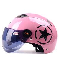 野马329四季电动车头盔男 半覆式电动车安全帽女 夏季双镜片哈雷半盔