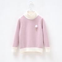 女童毛衣加厚加绒套头针织衫打底衫装新款儿童条纹高领中童毛衣