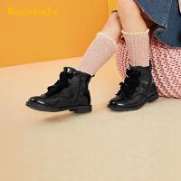 巴拉巴拉女童马丁靴儿童靴子短靴2019冬季新款小童皮靴甜美韩版女