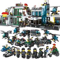 男孩子塑料�e木6�事拼�b警察局�和�益智玩具8-10-12�q