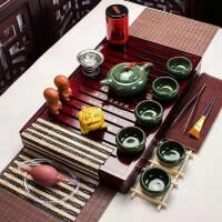 孔雀绿冰裂茶博士套装功夫茶具套装家用整套简约实木茶盘茶壶 孔雀绿冰裂