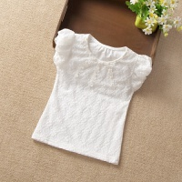 夏款童装韩版女童短袖T恤儿童女宝宝纯棉半袖打底衫蝴蝶结上衣 B款