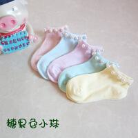 儿童袜秋季带珠珠袜子韩版纯色全棉可爱糖果色女童珍珠短袜