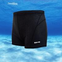 新款游泳裤男士平角泳衣泡温泉沙滩速干大码比赛性感时尚防水 黑色 L【腰围1尺9-2尺2】