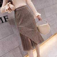 格子半身裙秋冬女中长款加厚网纱拼接高腰包臀裙毛呢不规则一步裙
