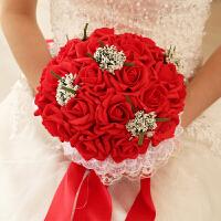 新娘手捧花结婚仿真韩式婚礼玫瑰花束影楼拍摄道具婚庆用品家居日用家装软饰节庆饰品 珍珠款 全红色
