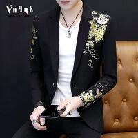 男士韩版修身西服男秋季帅气上衣个性小西装夜场男装休闲西装外套