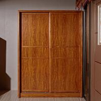御品工匠 实木整体衣柜 实木家具 推拉门衣柜 现代中式家具F029梨木色1.6米双门