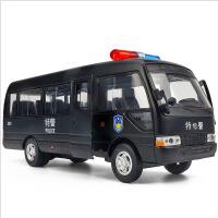 考斯特商务车仿真巴士车模儿童警车玩具男孩警察汽车模型回力