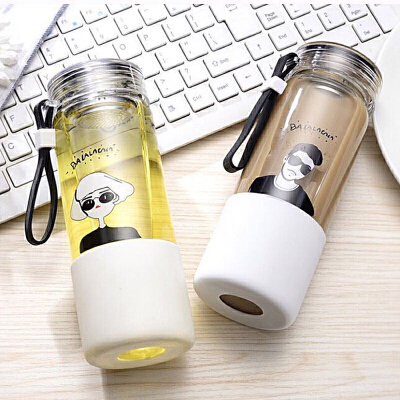 韩国新款流行时尚女士水晶玻璃水杯男士茶杯茶格款茶网随手杯 B9088清仓超值!买就送杯刷