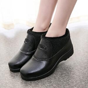 2017冬季新款休闲女棉鞋加绒棉靴保暖中老年女棉鞋韩版妈妈鞋