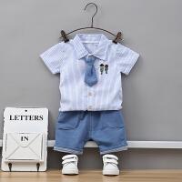 婴儿新款夏装短袖套装0-1-3岁男宝宝夏季衬衣儿童外出两件套韩版