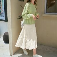 MG小象秋季半身裙2019新款气质白色仙女裙中长款高腰过膝褶皱半裙