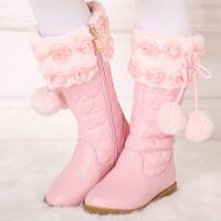 女童靴子2017季童鞋新款童靴女孩公主马丁靴 韩版高筒棉靴 黑色 26码/16.8cm