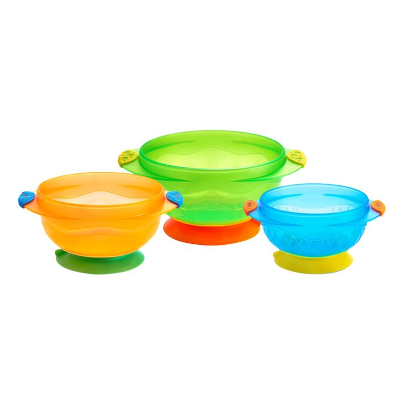 【当当自营】满趣健(munchkin)吸盘碗3个装 婴儿辅食碗训练碗 宝宝吃饭碗防摔碗防滑碗 儿童辅食餐具吸盘有力的吸在桌子上,宝宝再也打不翻