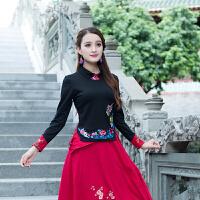 秋装新款民族风女装绣花上衣修身显瘦高领长袖打底衫刺绣纯棉T恤