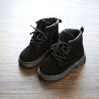 2017秋季新款靴子雪地靴加绒男童女童鞋学生短靴马丁靴韩版 黑色(秋加绒款) 22码/内长13.5cm