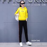 套装 女士连帽字母拼接运动套装2020年秋季新款韩版时尚潮流女式运动休闲女装卫衣两件套