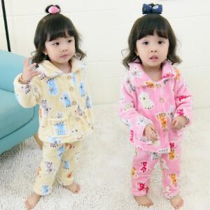 百槿 冬季女童加厚法兰绒卡通印花睡衣套装 中小童加厚睡衣休闲裤套装两件套
