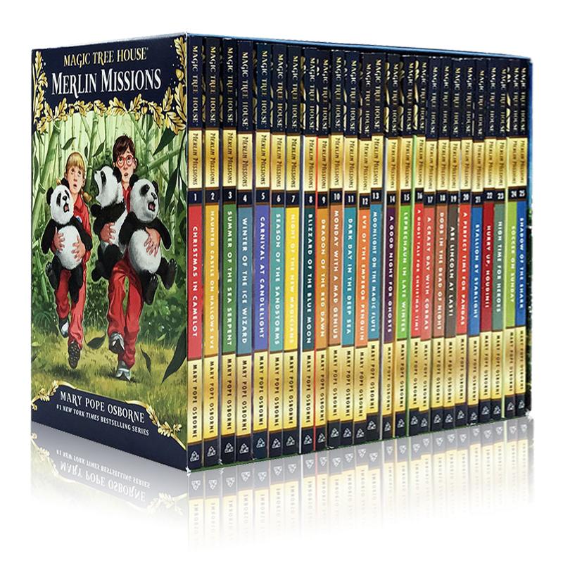 英文原版Magic Tree House 29-53新版 神奇树屋盒装29-53 梅林的任务